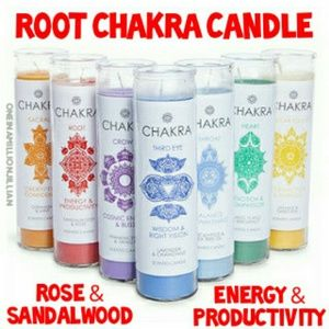 Root Chakra Scented Glass Prayer/Pillar Candle